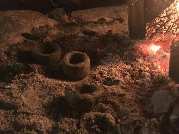 Natural clay pottery firing campfire
